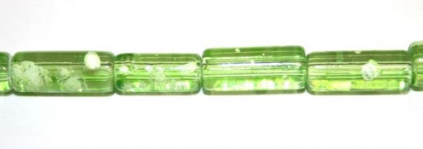 26pieces x 16mm*7mm Lime green colour cylinder shape bubble gum glass beads / speckled glass beads -- 3005164